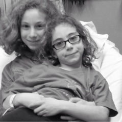 Paige and Zoe in the Emergency Room, safe after Zoe's allergic reaction