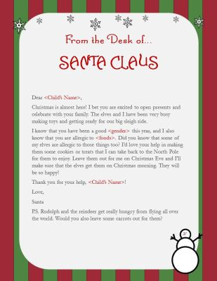 letter from santa food allergies