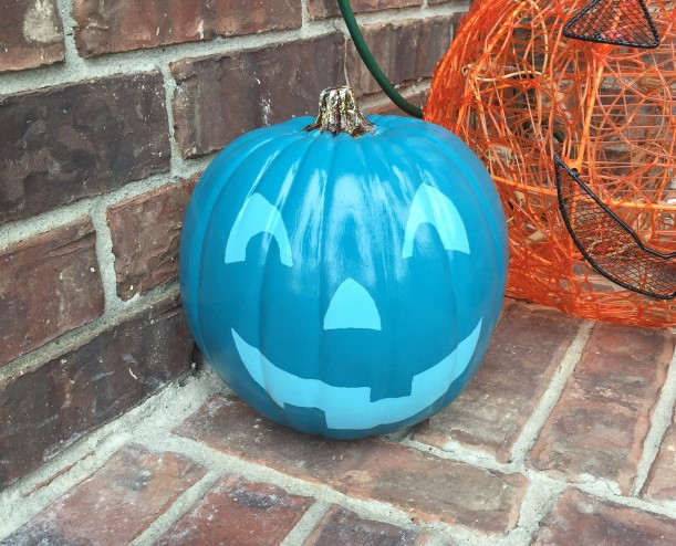painted teal pumpkin