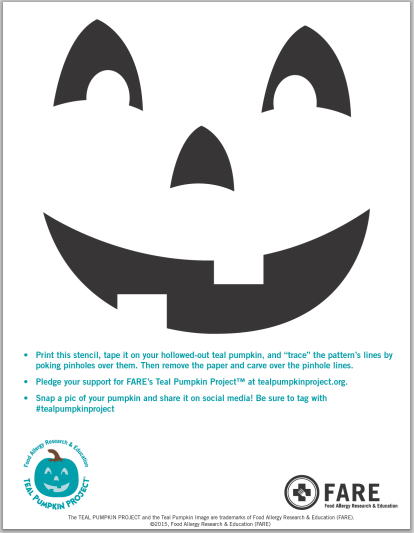 Teal Pumpkin face stencil